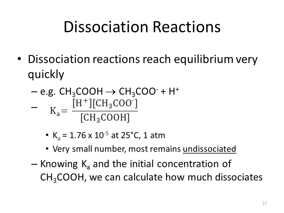 Dissociation Reactions