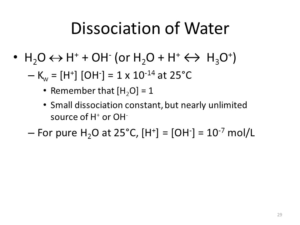 Dissociation of Water H2O  H+ + OH- (or H2O + H+ ↔ H3O+)