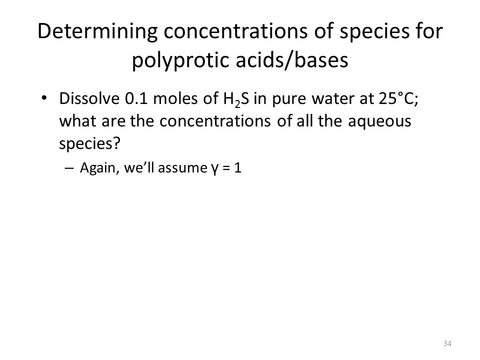 Determining concentrations of species for polyprotic acids/bases