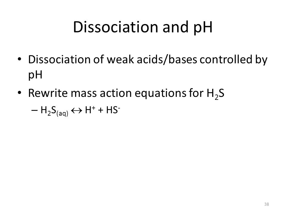 Dissociation and pH Dissociation of weak acids/bases controlled by pH