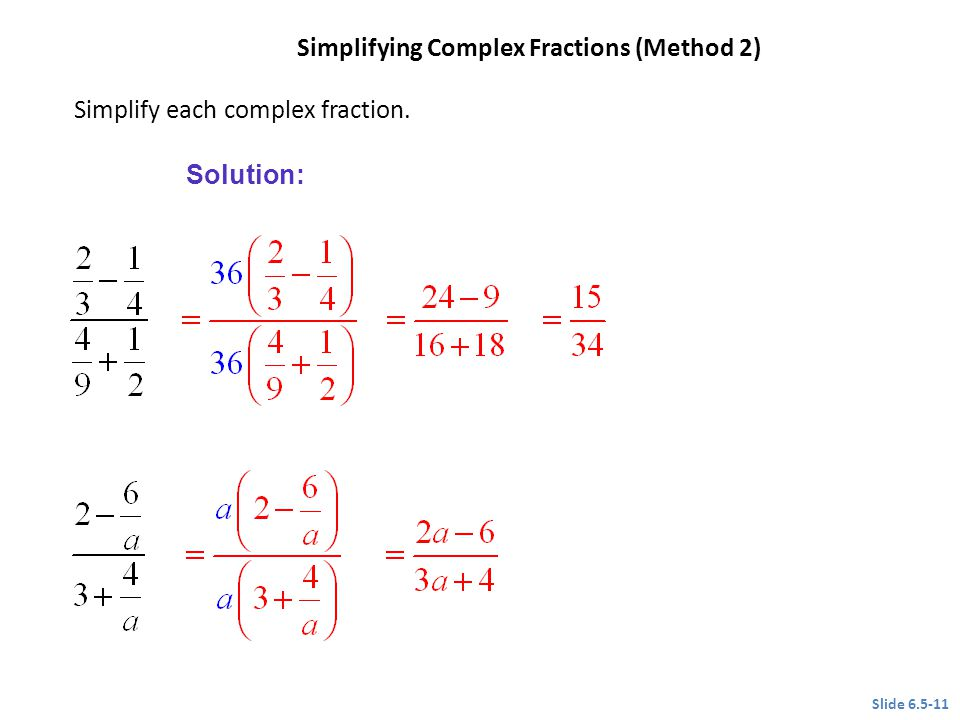 Simplifying Complex Fractions (Method 2)
