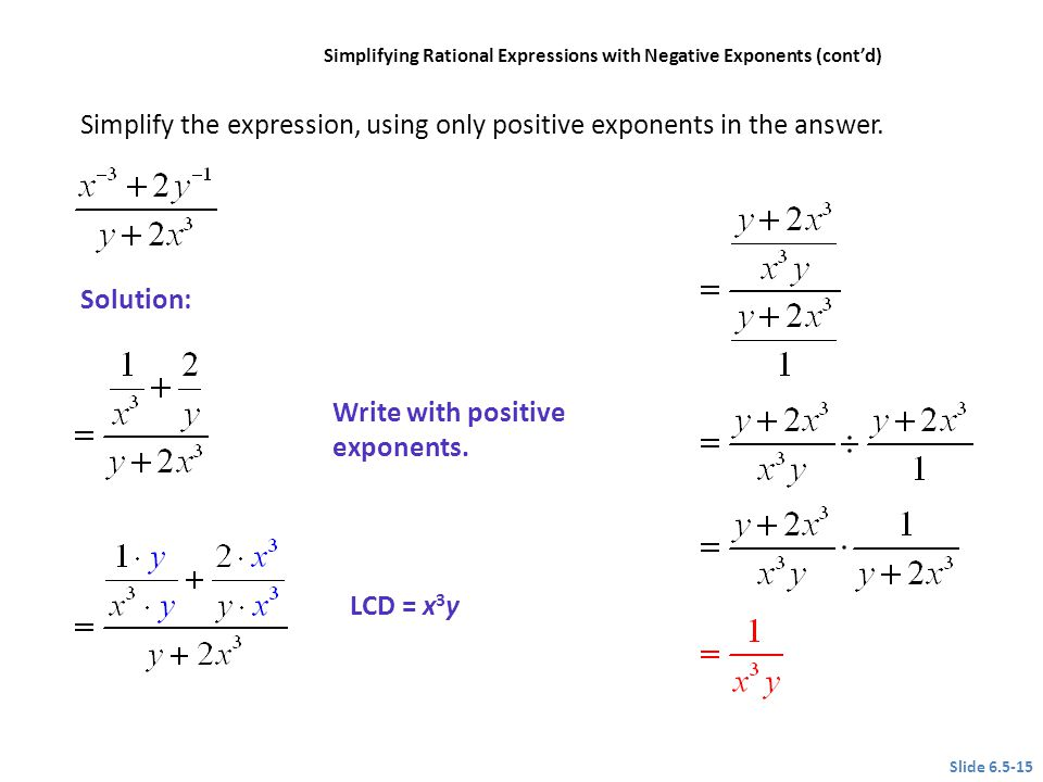 Simplify the expression, using only positive exponents in the answer.