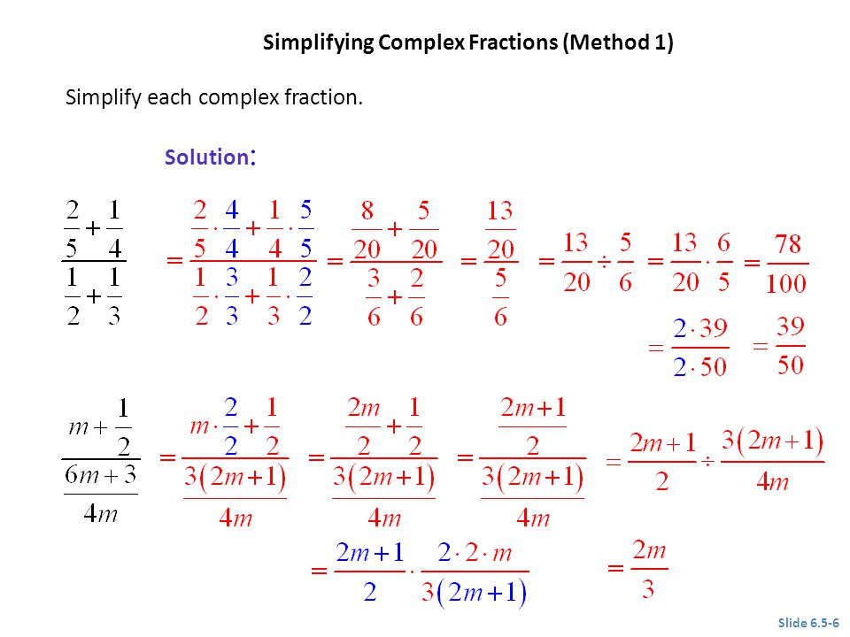 Simplifying Complex Fractions (Method 1)