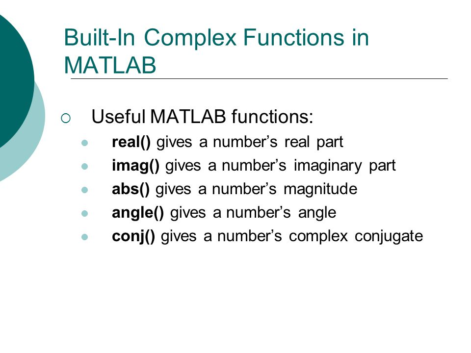 Built-In Complex Functions in MATLAB