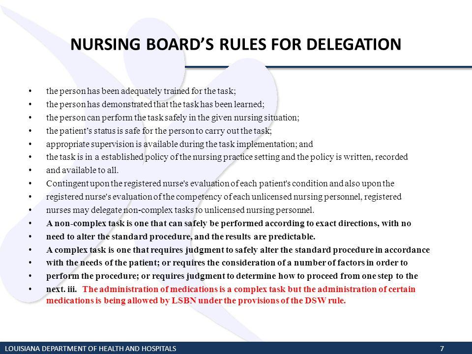 NURSING BOARD'S RULES FOR DELEGATION