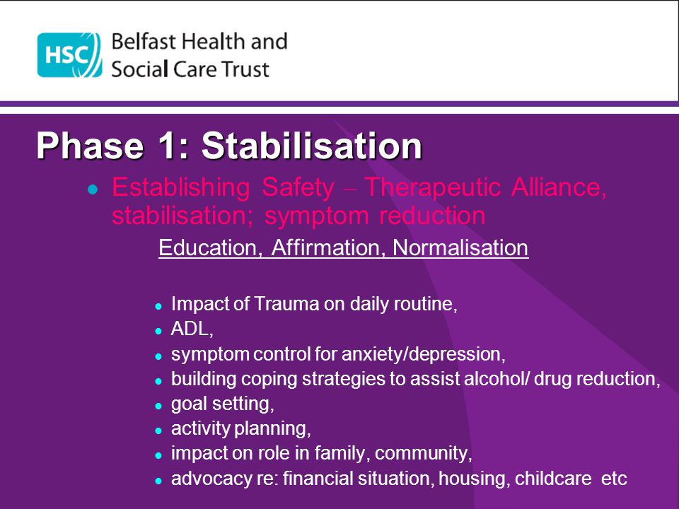 Phase 1: Stabilisation Establishing Safety – Therapeutic Alliance, stabilisation; symptom reduction.