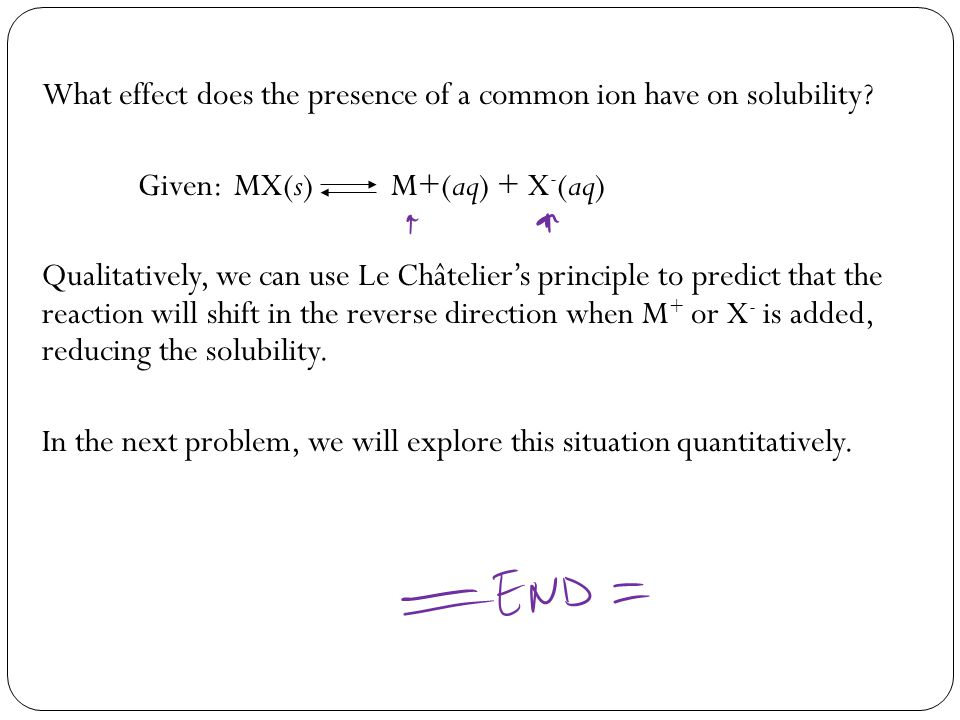 What effect does the presence of a common ion have on solubility