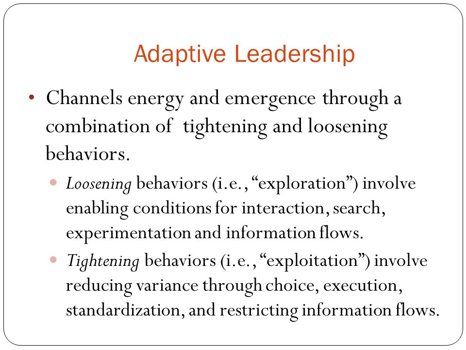 Adaptive Leadership Channels energy and emergence through a combination of tightening and loosening behaviors.