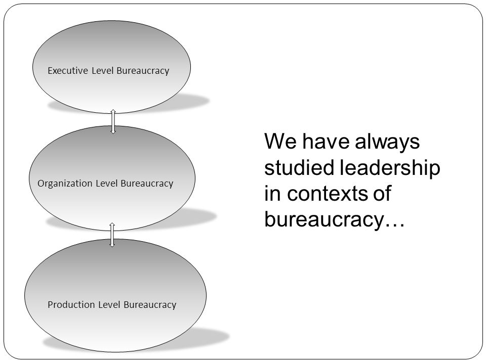 We have always studied leadership in contexts of bureaucracy…
