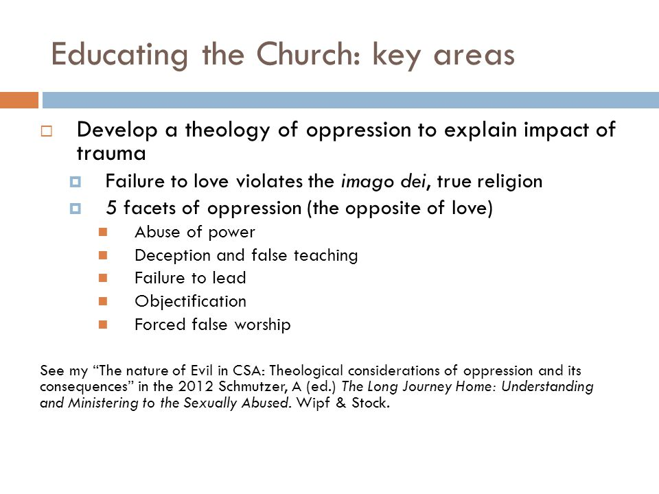 Educating the Church: key areas