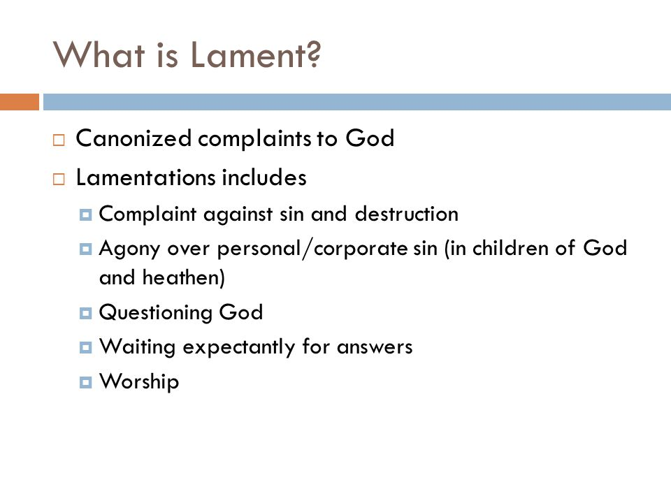 What is Lament Canonized complaints to God Lamentations includes