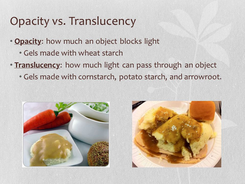 Opacity vs. Translucency