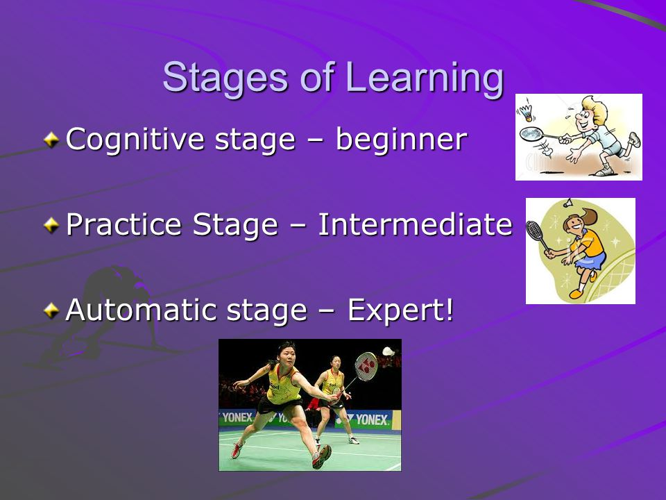 Stages of Learning Cognitive stage – beginner