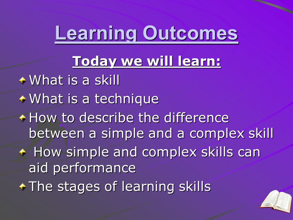 Learning Outcomes Today we will learn: What is a skill