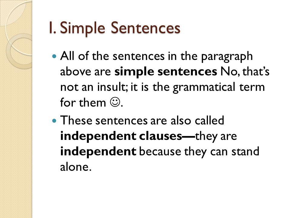 I. Simple Sentences