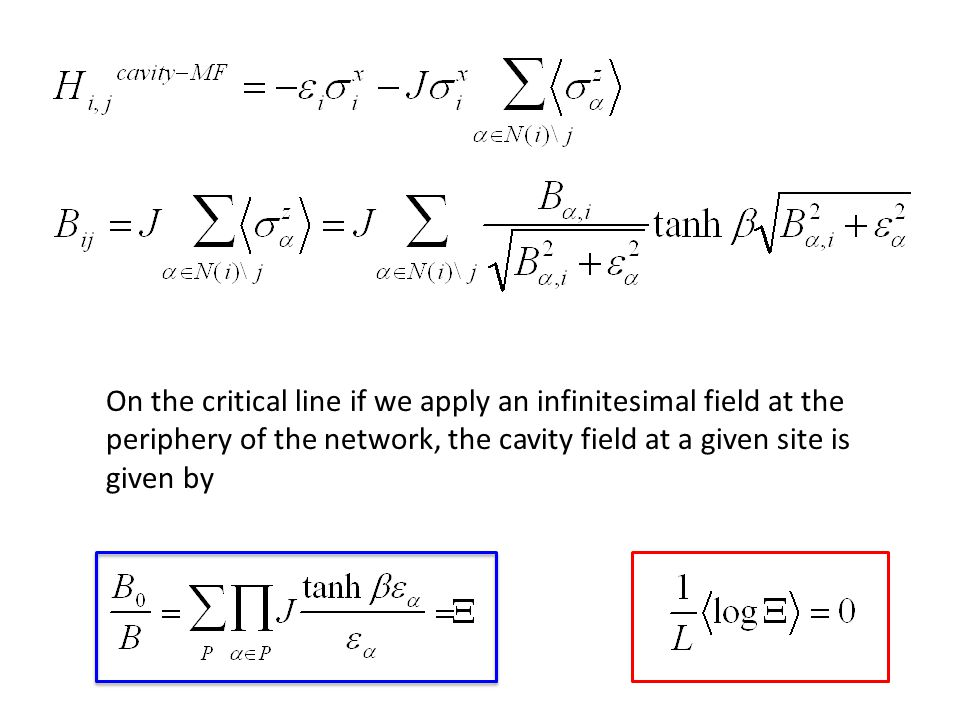 On the critical line if we apply an infinitesimal field at the periphery of the network, the cavity field at a given site is given by