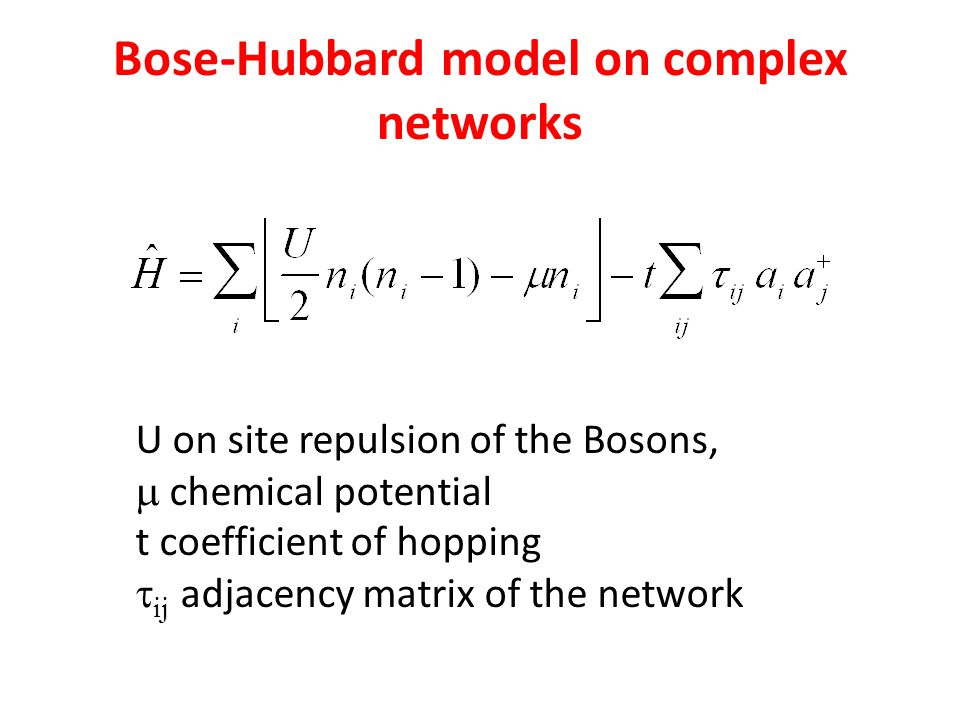 Bose-Hubbard model on complex networks