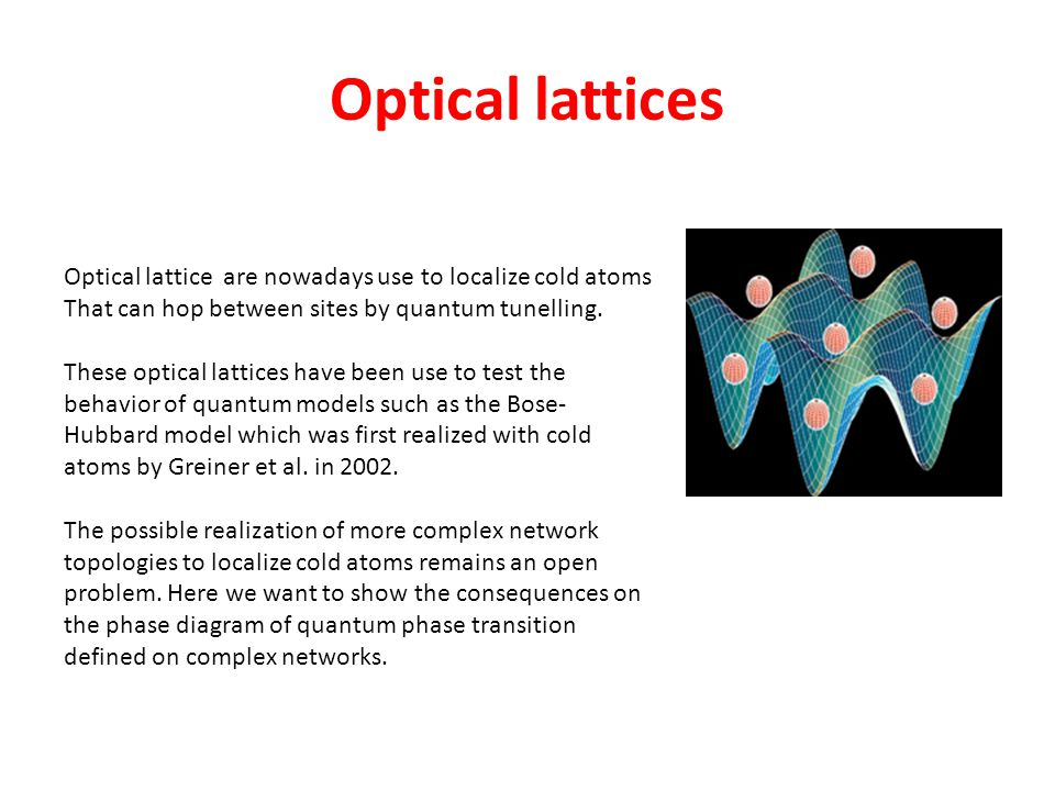 Optical lattices Optical lattice are nowadays use to localize cold atoms. That can hop between sites by quantum tunelling.