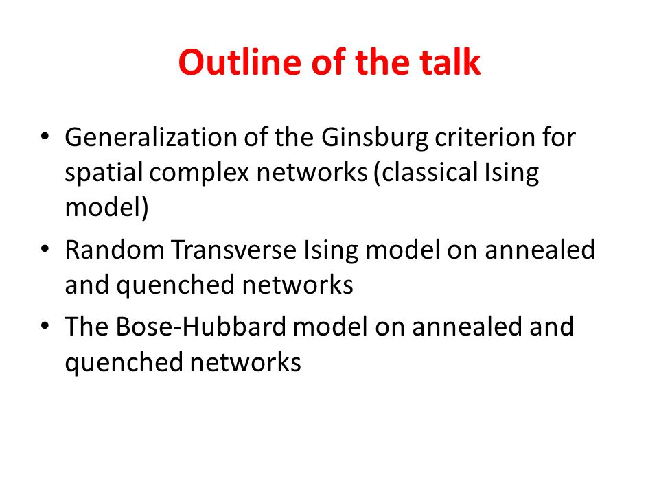 Outline of the talk Generalization of the Ginsburg criterion for spatial complex networks (classical Ising model)