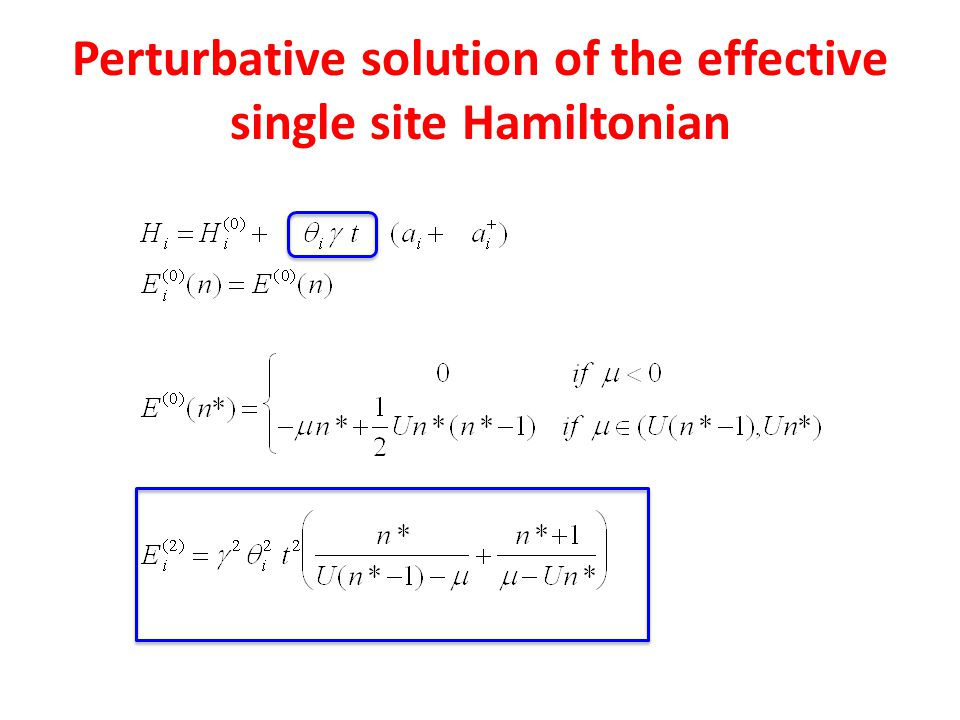 Perturbative solution of the effective single site Hamiltonian