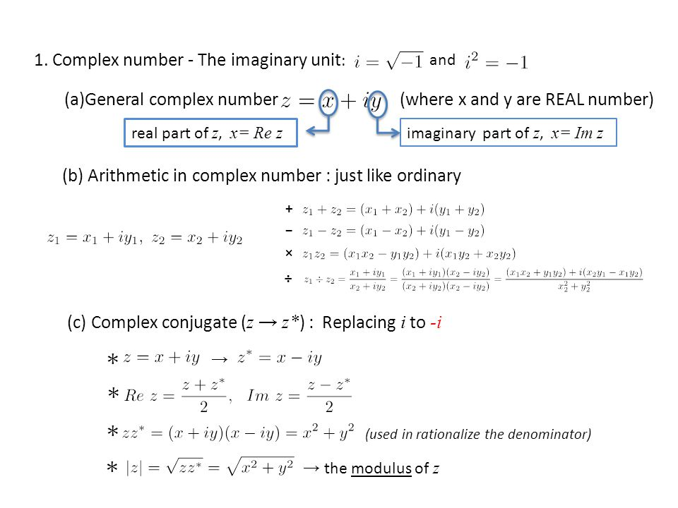 1. Complex number - The imaginary unit: