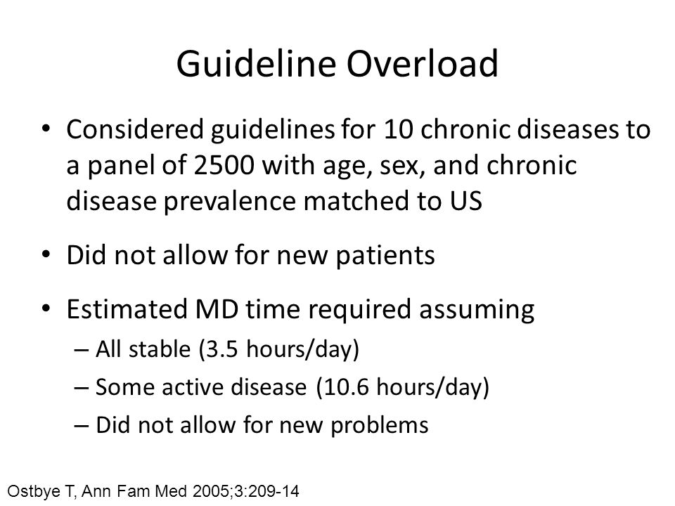 Guideline Overload Considered guidelines for 10 chronic diseases to a panel of 2500 with age, sex, and chronic disease prevalence matched to US.