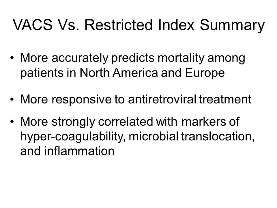 VACS Vs. Restricted Index Summary