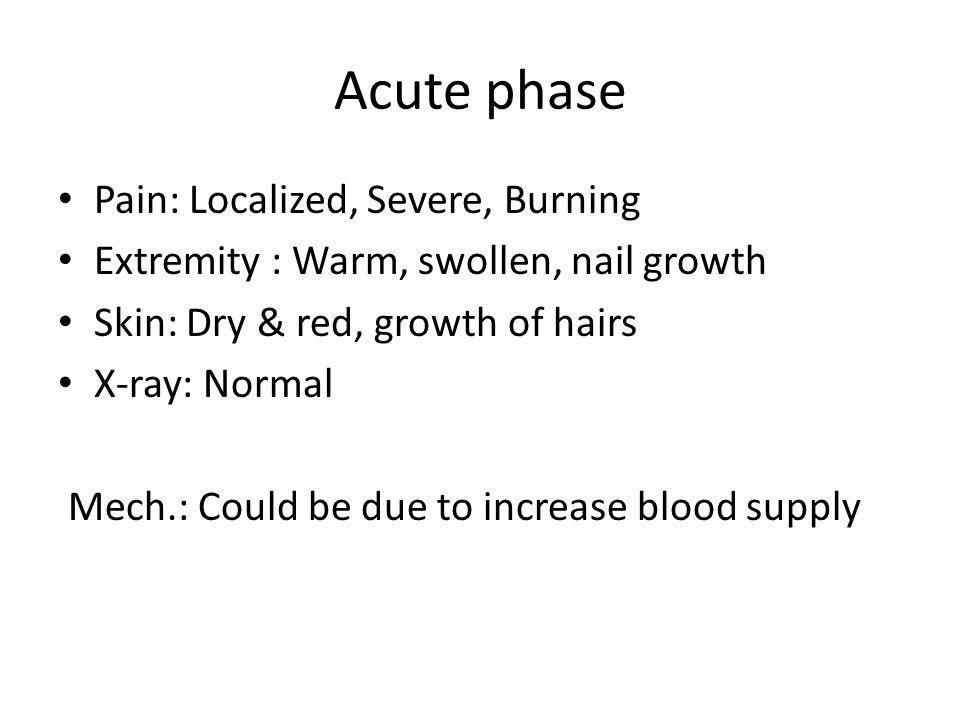 Acute phase Pain: Localized, Severe, Burning