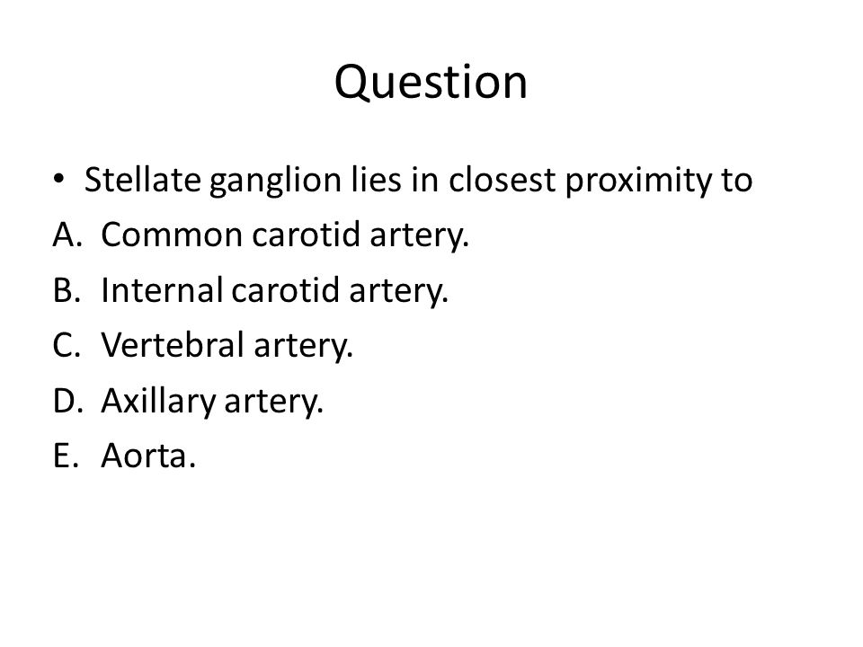 Question Stellate ganglion lies in closest proximity to