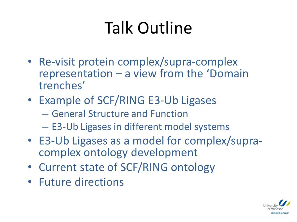 Talk Outline Re-visit protein complex/supra-complex representation – a view from the 'Domain trenches'