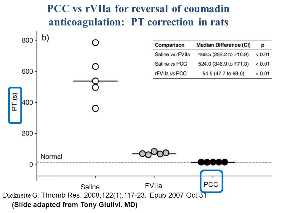 PCC vs rVIIa for reversal of coumadin anticoagulation: PT correction in rats