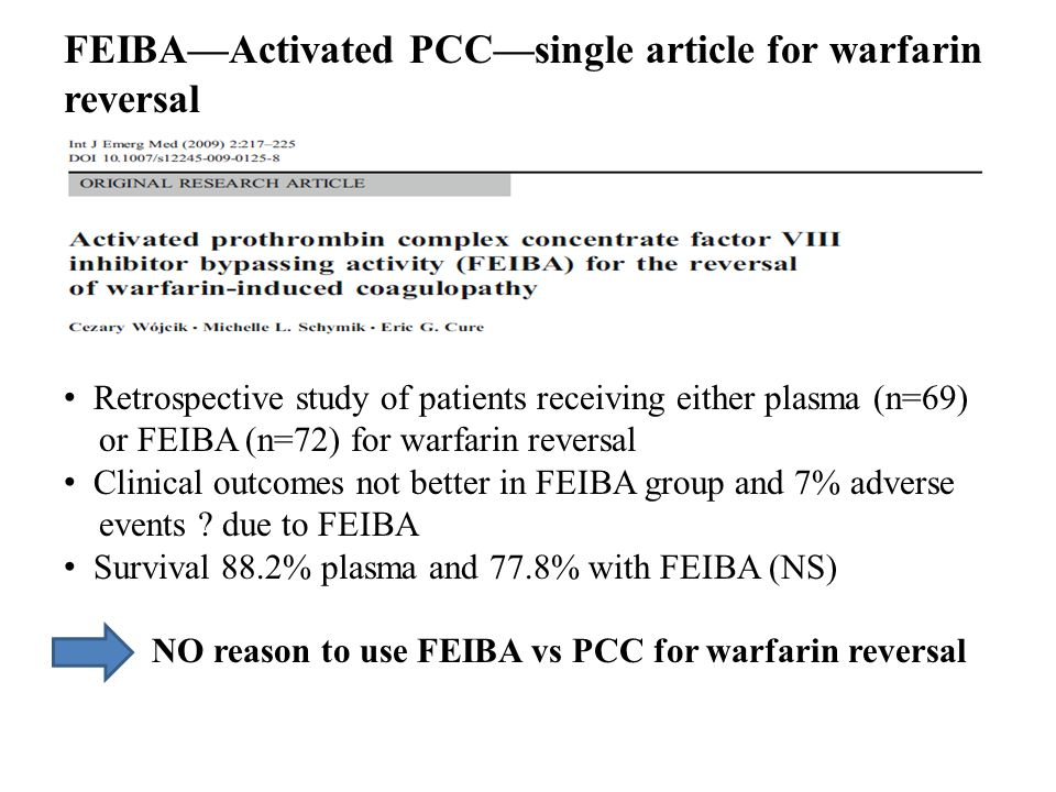 FEIBA—Activated PCC—single article for warfarin reversal