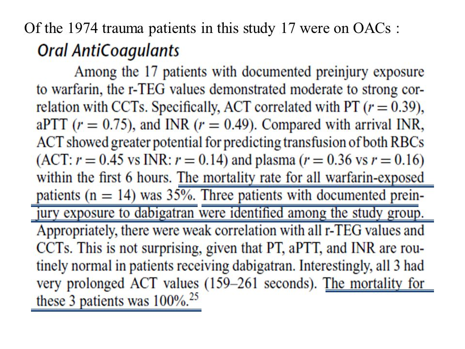 Of the 1974 trauma patients in this study 17 were on OACs :