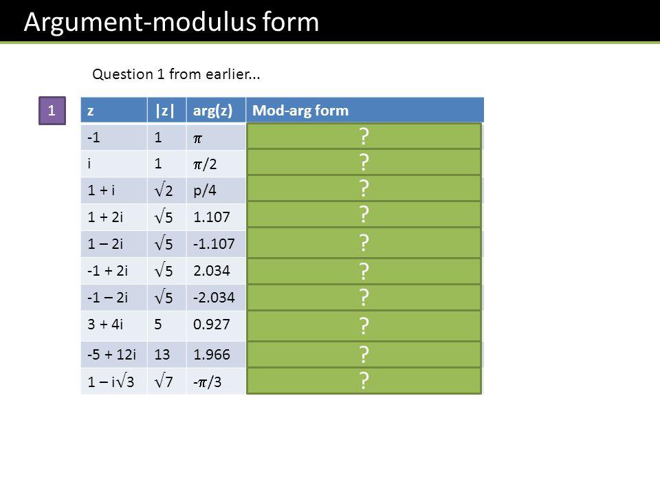 Argument-modulus form