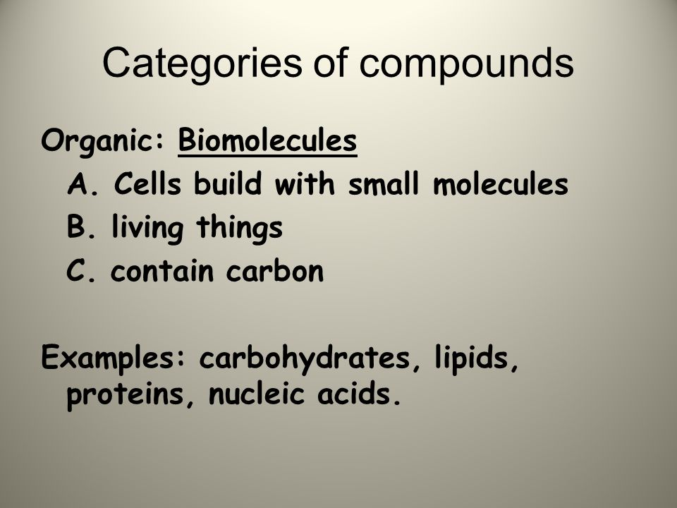 Categories of compounds