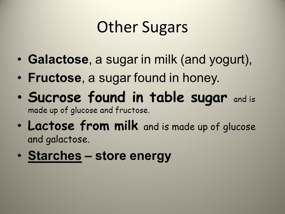 Other Sugars Galactose, a sugar in milk (and yogurt), Fructose, a sugar found in honey.