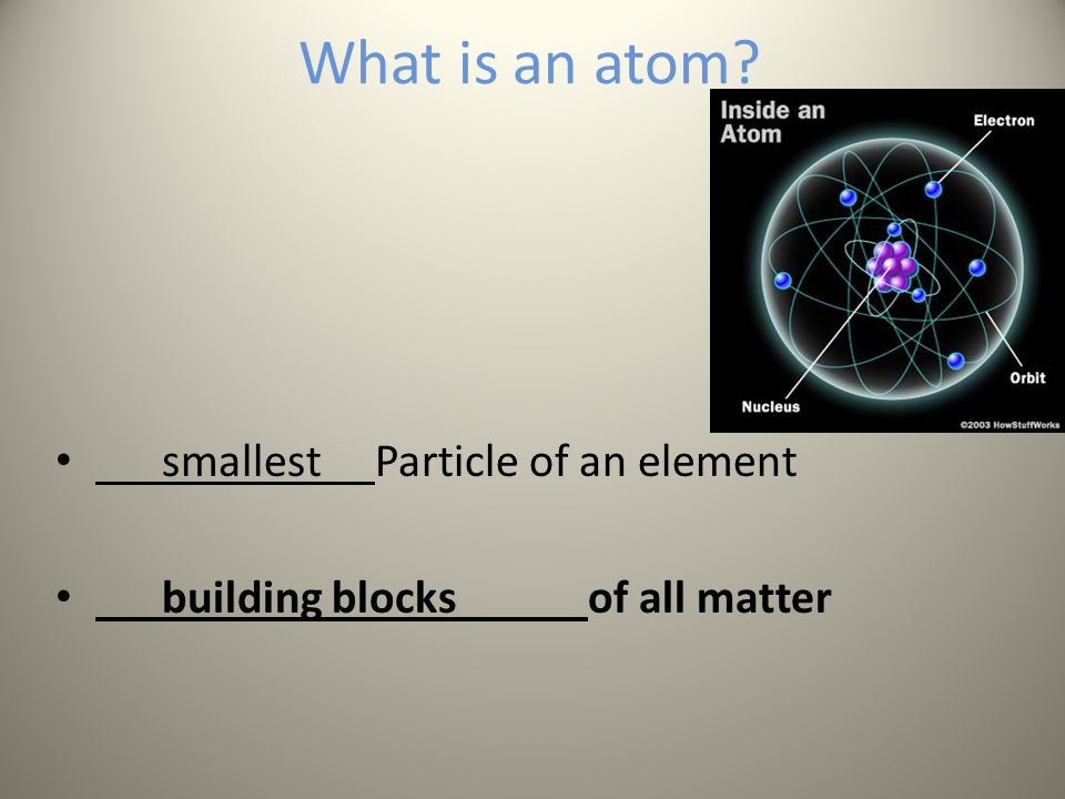 What is an atom smallest Particle of an element