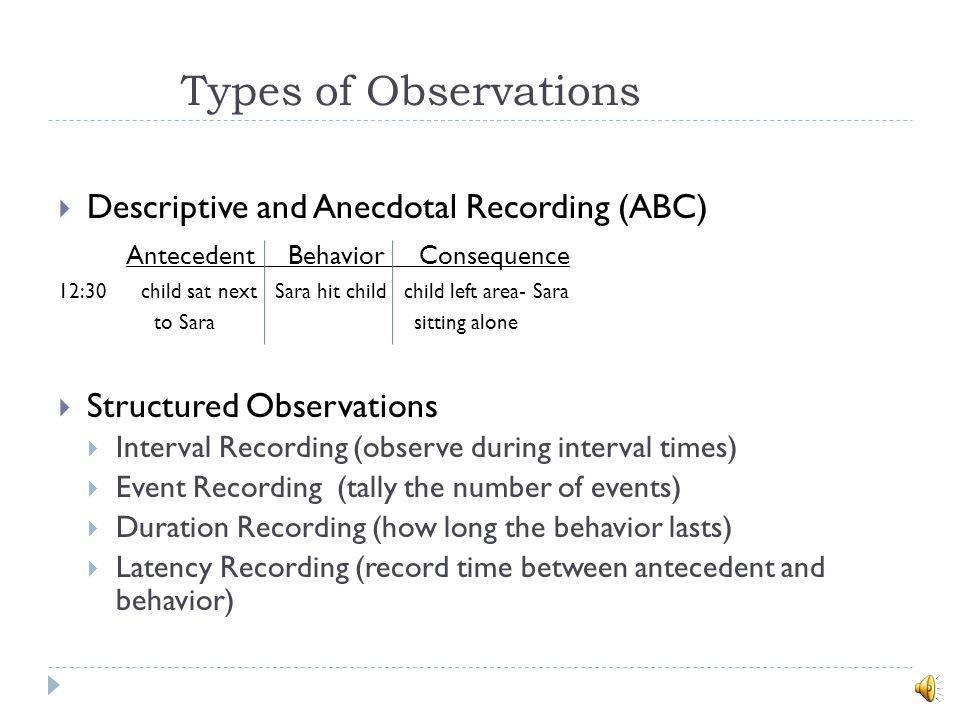 Types of Observations Descriptive and Anecdotal Recording (ABC)