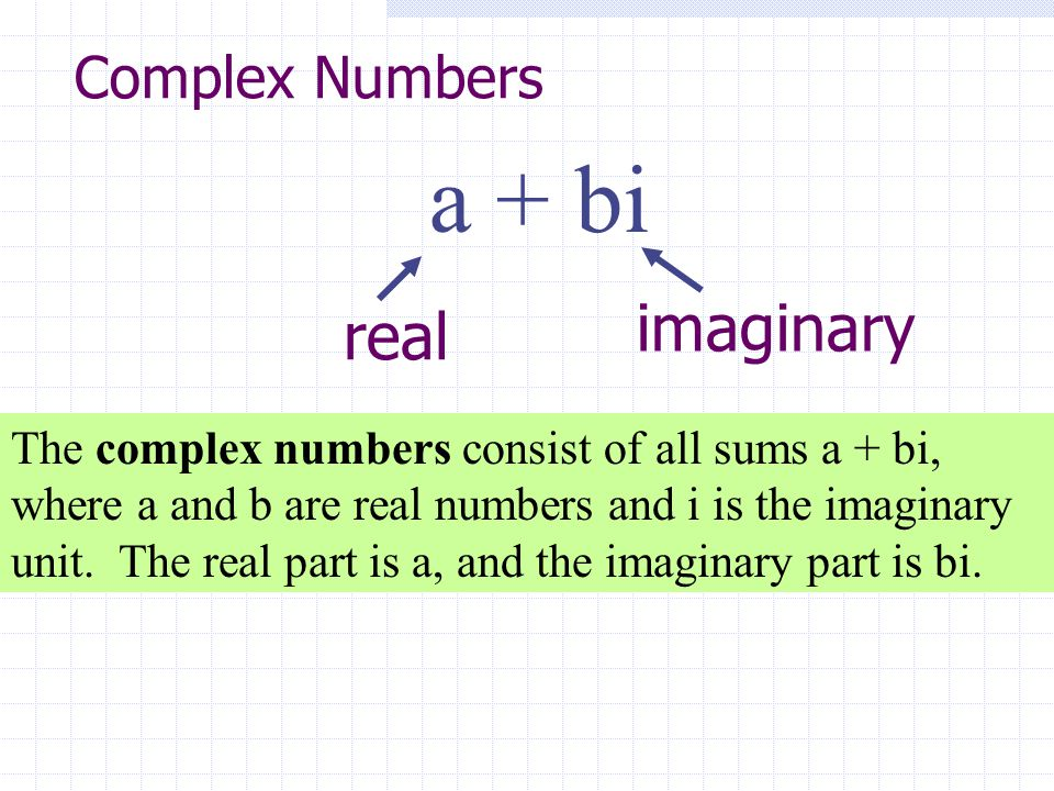 a + bi imaginary real Complex Numbers