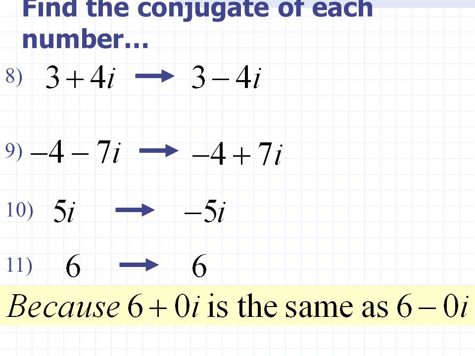 Find the conjugate of each number…