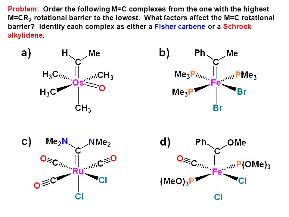 Problem: Order the following M=C complexes from the one with the highest M=CR2 rotational barrier to the lowest.