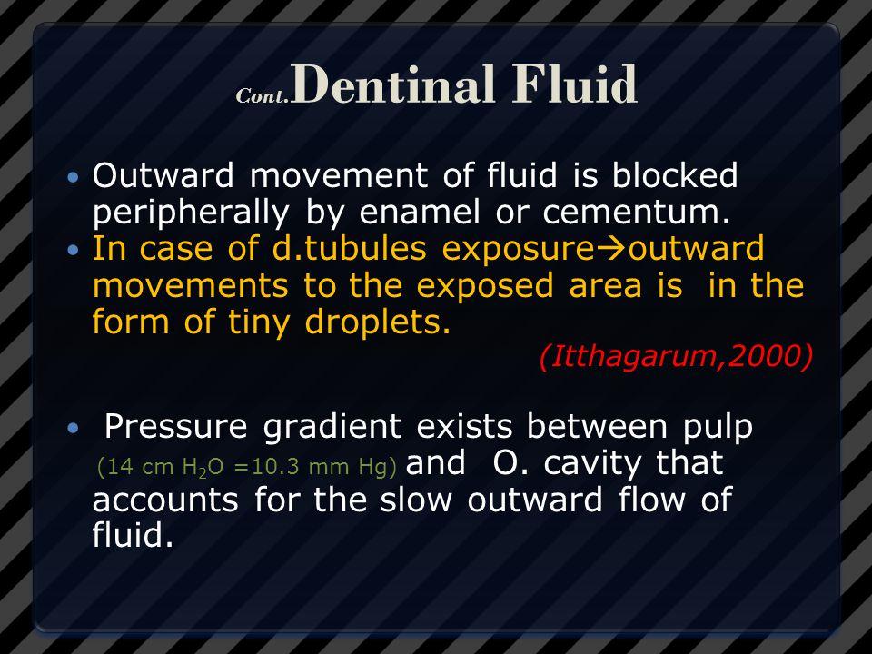Pressure gradient exists between pulp