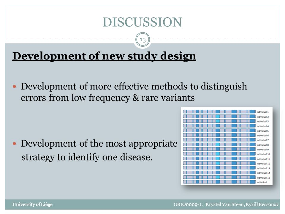DISCUSSION Development of new study design