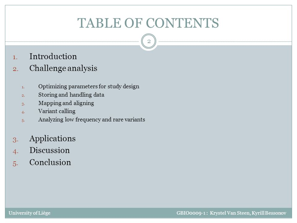 TABLE OF CONTENTS Introduction Challenge analysis Applications