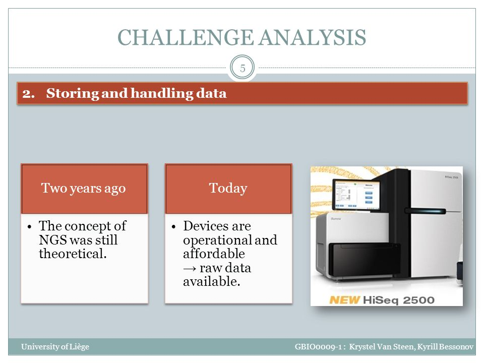 CHALLENGE ANALYSIS Storing and handling data Two years ago