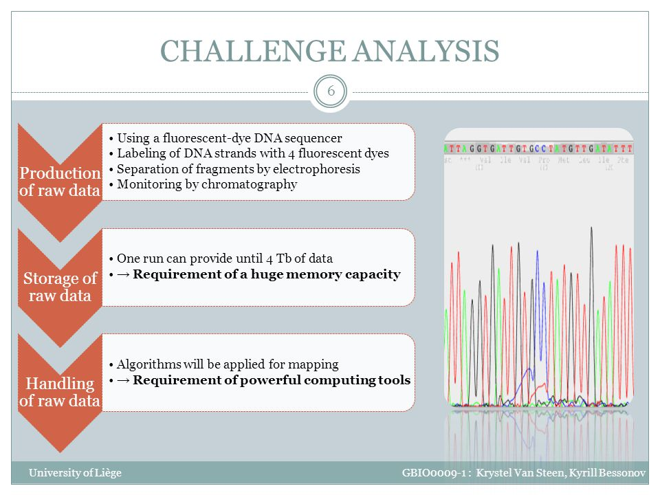 CHALLENGE ANALYSIS Production of raw data. Using a fluorescent-dye DNA sequencer. Labeling of DNA strands with 4 fluorescent dyes.