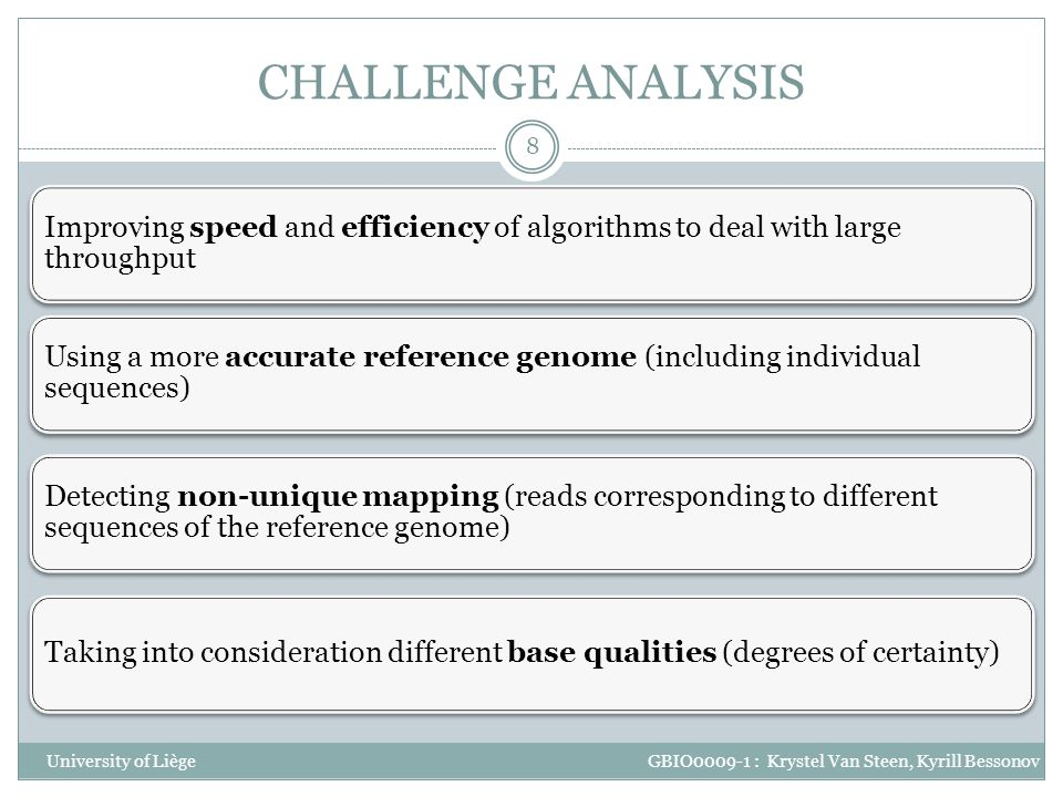CHALLENGE ANALYSIS Improving speed and efficiency of algorithms to deal with large throughput.