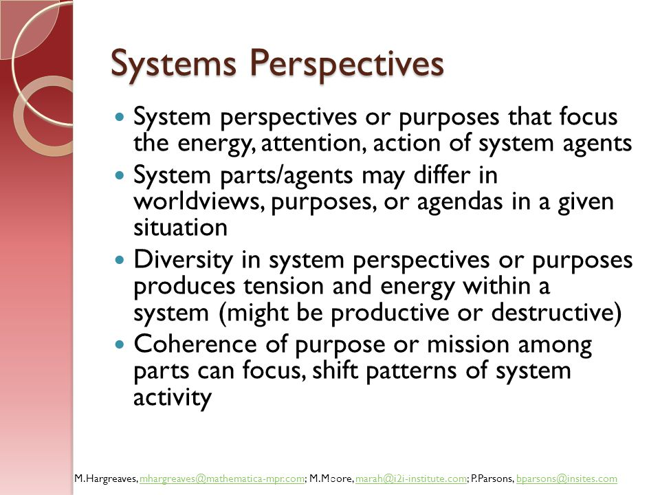 Systems Perspectives System perspectives or purposes that focus the energy, attention, action of system agents.