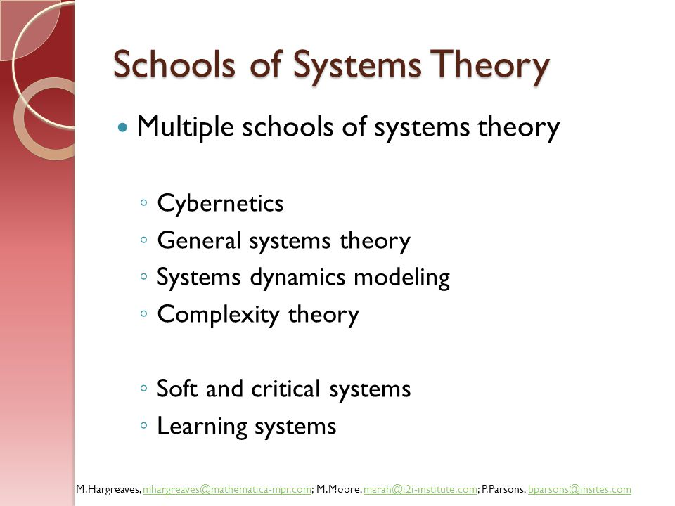 Schools of Systems Theory