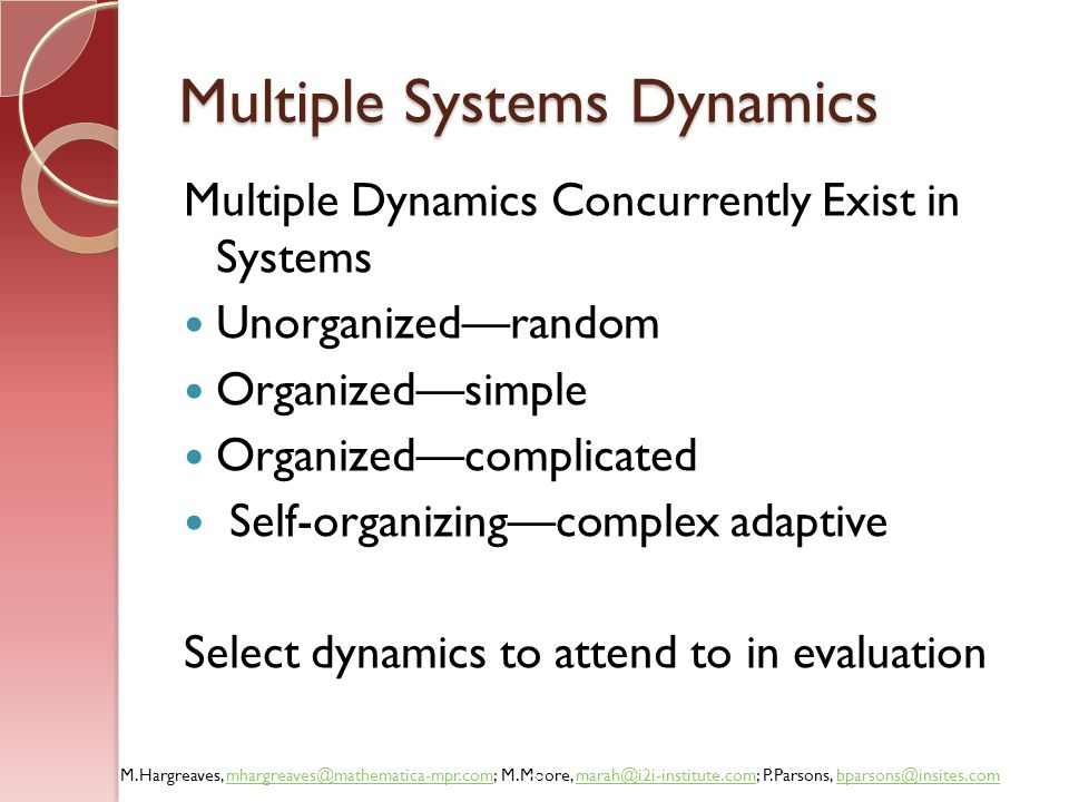 Multiple Systems Dynamics